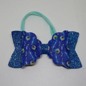 father print handmade faux leather bow headband